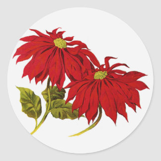 Christmas Poinsettia Flowers Stickers