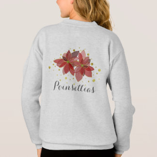 Christmas poinsettia flowers sweatshirt for girls
