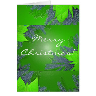 Christmas Poinsettia Green In English Greeting Card
