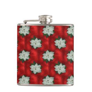 Christmas Poinsettia Hip Flask