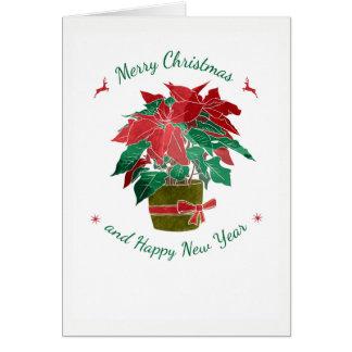 Christmas Poinsettia Holiday Folded Photo Card