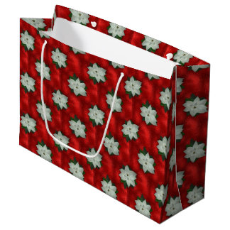 Christmas Poinsettia Large Gift Bag