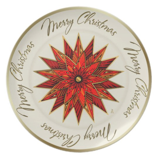 Christmas Poinsettia (Party Plate) Plate