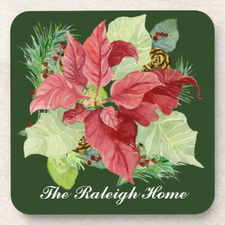 Christmas Poinsettia Pine Cone Gift Personalized Drink Coasters