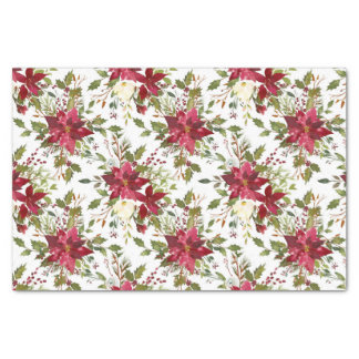 Christmas Poinsettia Red Elegant Holiday Floral Tissue Paper