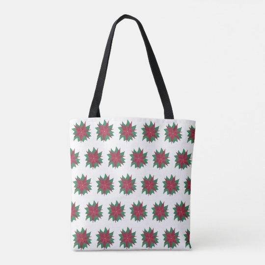 Christmas Poinsettia Red Green Flowers Tote Bags