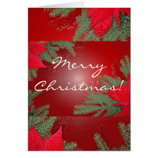 Christmas Poinsettia Red In English Greeting Card