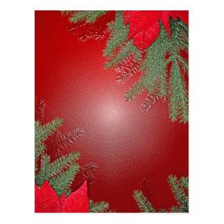 Christmas Poinsettia Red Postcard