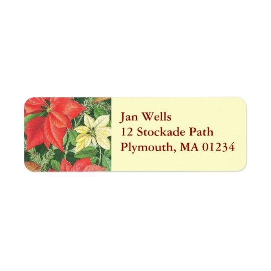 Christmas Poinsettia Return Address Label