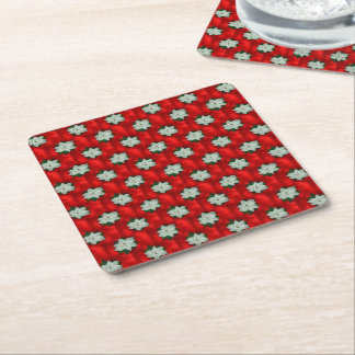 Christmas Poinsettia Square Paper Coaster