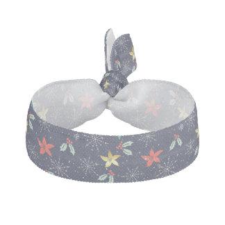 Christmas Poinsettia & WhiteChristmas Snowflakes Hair Tie