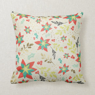 Christmas Poinsettia with Leaves & Berries Throw Pillow