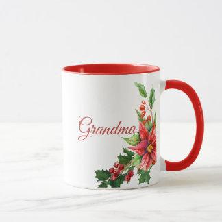 Christmas Poinsettias and Personal Text Mug
