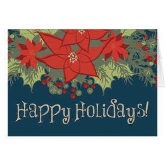 Christmas Poinsettias Floral Swag, Happy Holidays! Card