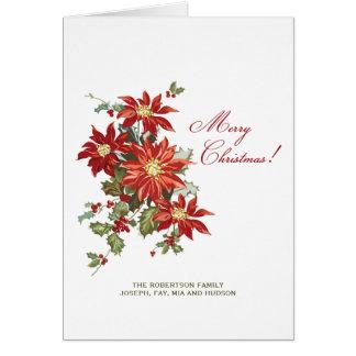 Christmas Poinsettias Folded Holiday Photo Card