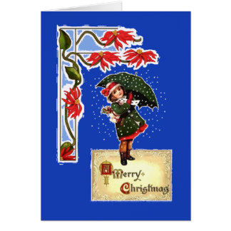 Christmas, Poinsettias, Girl with umbrella, Snow Card