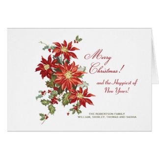 Christmas Poinsettias (H) Folded Holiday Photo Car Card