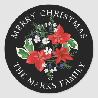 Christmas Poinsettias Holly and Juniper Floral Classic Round Sticker