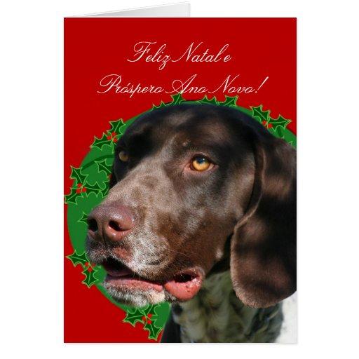 Christmas Pointer dog greeting card