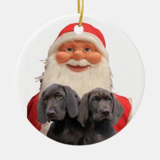 Christmas Pointer Puppies Round Ceramic Ornament