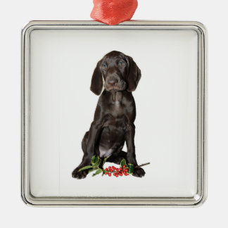 Christmas Pointer Puppy Silver-Colored Square Ornament