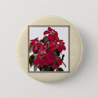 Christmas Pointsettia Plant in Gold Frame 2 Inch Round Button