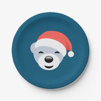 Christmas Polar Bear in Red Hat on Blue Paper Plate