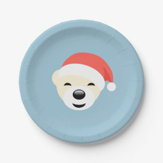 Christmas Polar Bear in Red Hat on Light Blue Paper Plate