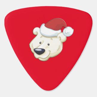 Christmas Polar Bear Red Guitar Pick