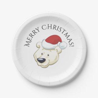 Christmas Polar Bear Wishes Merry Xmas Paper Plate