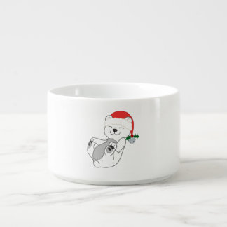 Christmas Polar Bear with Santa Hat & Jingle Bell Chili Bowl