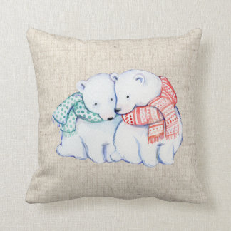 christmas polar bears linen look pillow cushion