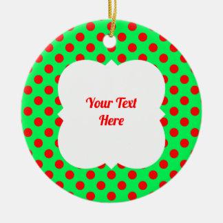 Christmas polka dot red/green ceramic ornament