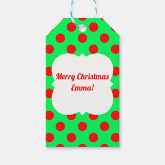 Christmas polka dot red/green gift tags