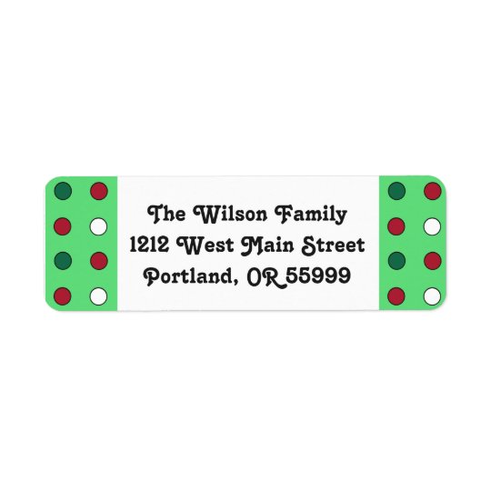 Christmas polka dots custom labels