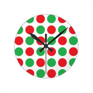 Christmas Polka Dots Round Clock