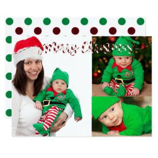 Christmas Polka dots & Stripes 3 Photo Card