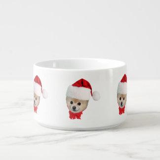 Christmas, Pomeranian Dog, Santa Hat Chili Bowl
