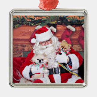 Christmas - Pomeranian - Toby & Andy Metal Ornament