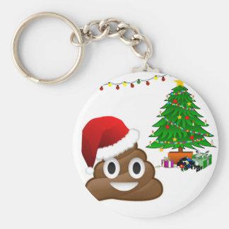 christmas poo emoji basic round button keychain
