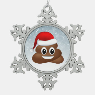 christmas poo emoji with santa hat snowflake pewter christmas ornament