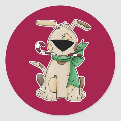 Christmas pooch with candy cane round stickers
