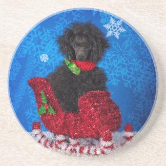 Christmas Poodle Beverage Coaster