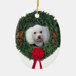 Christmas poodle ceramic ornament