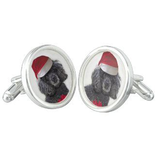 Christmas poodle dog cufflinks