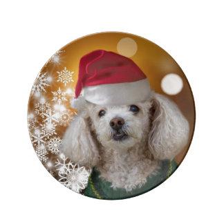 Christmas poodle dog plate