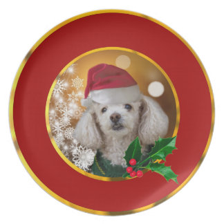 Christmas poodle dog plate