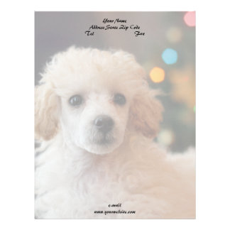 Christmas poodle puppy stationary letterhead