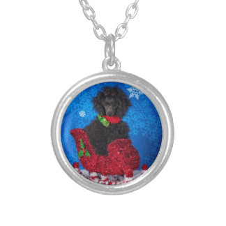 Christmas Poodle Silver Plated Necklace