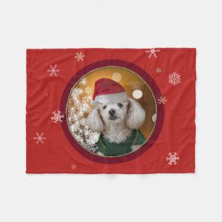 Christmas poodle  throw fleece blanket
